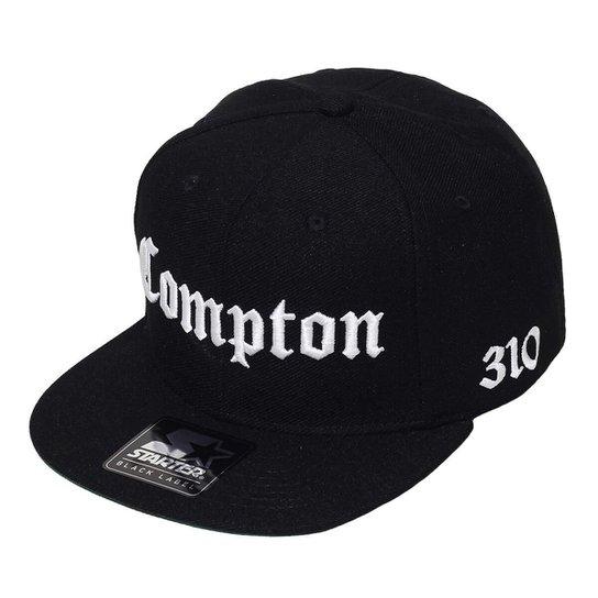 Boné Starter Aba Reta Snapback Compton 310 Preto - Preto - Compre ... 511307e0871