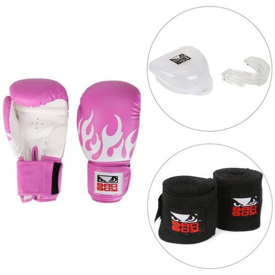 48c42c67dc Kit Luva de Boxe   Muay Thai Bad Boy 12 OZ Feminina + Bandagem Elástica +