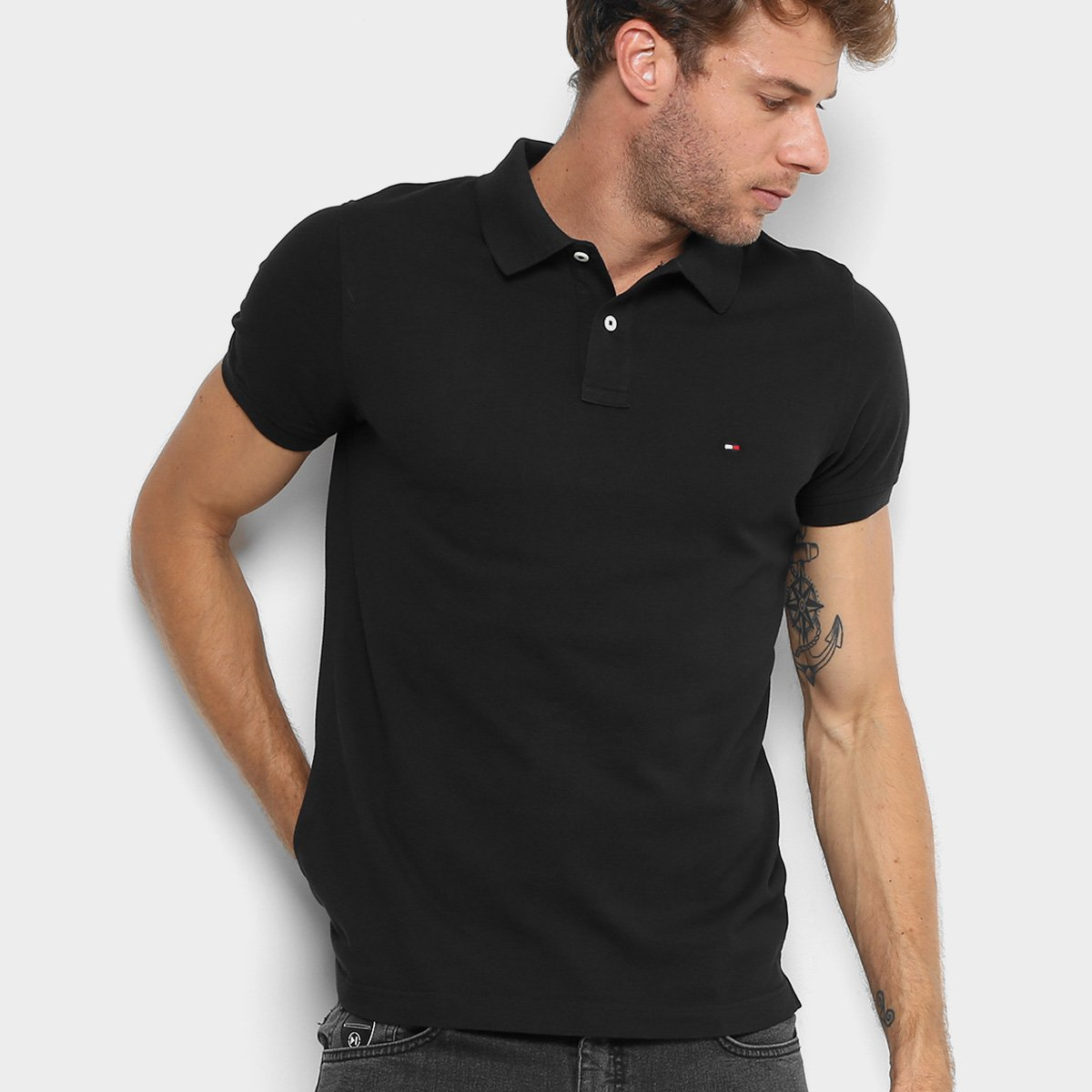 3154400b0 Camisa Polo Tommy Hilfiger Slim Fit Clássica Masculina. undefined