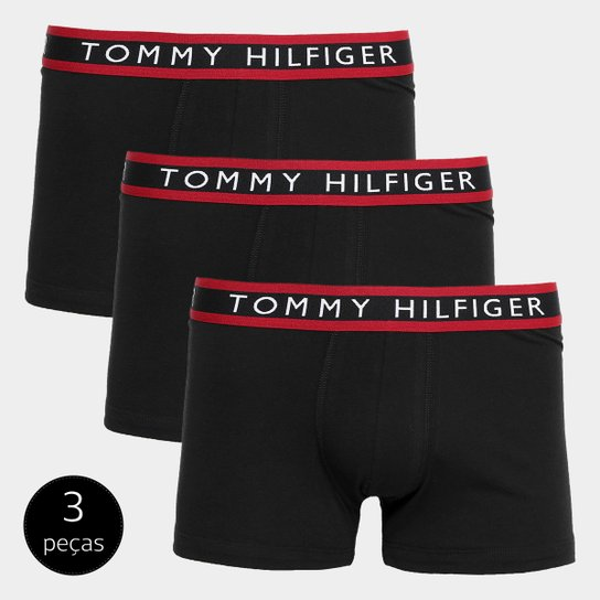 130808be41afb8 Kit Cueca Boxer Tommy Hilfiger Trunk 3 Peças - Preto