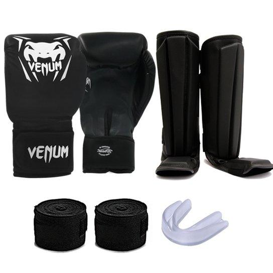 b00a2c68c Kit Muay Thai Luva Venum + Caneleira + Bandagem + Bucal - Preto