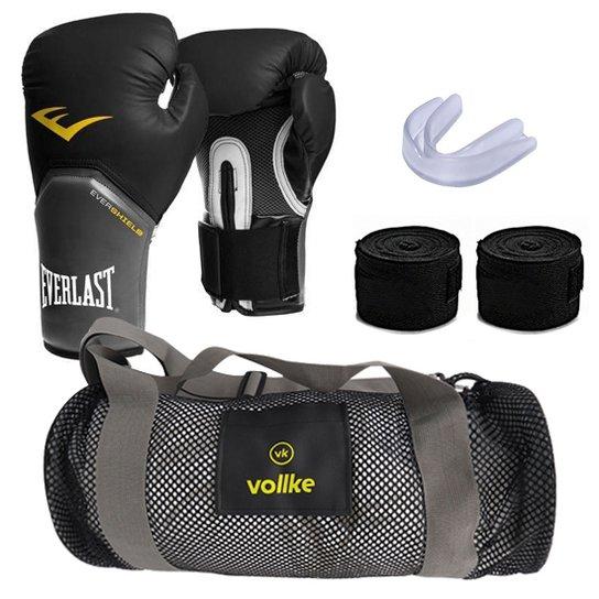 d03369ddc Kit Muay Thai com Luva Everlast e Bolsa Vollke+ Bandagem+ Bucal- 12oz -  Preto