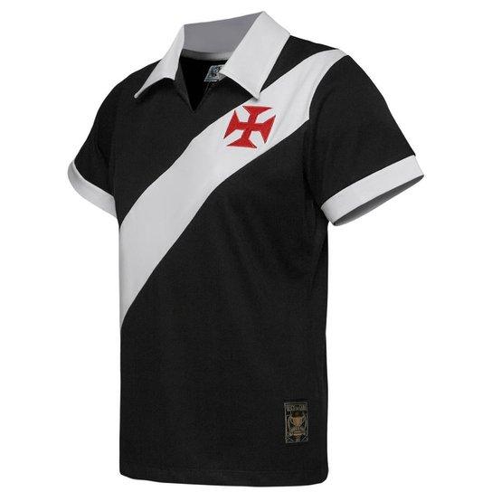 ef270b3805c46b Camisa Retrô Vasco da Gama Réplica Torneio Paris 1957 Masculina - Preto