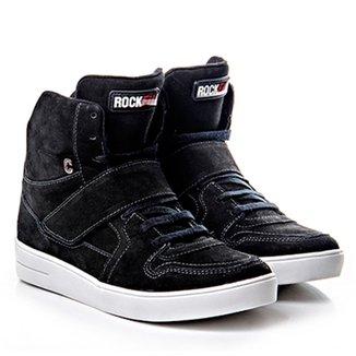 Tenis Sneaker Em Couro Preto Com Fechamento Em Vel 704449a4afb63