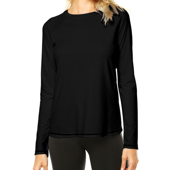 13b34ca681 Camisa Térmica Camisa da Latinha com Proteção Solar UV50+ Feminina - Preto