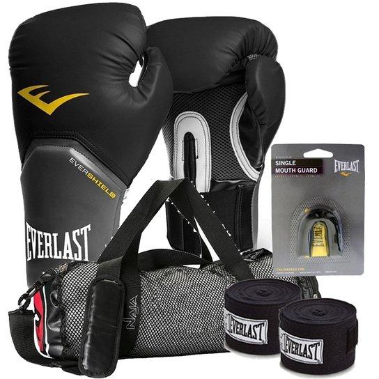 beff93274 Kit Boxe Elite Everlast + Bolsa Naja 08Oz Preto - Compre Agora ...