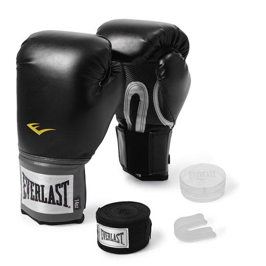 431278490 Kit Luva de Boxe Everlast Training 14 Oz + Bandagem - Preto