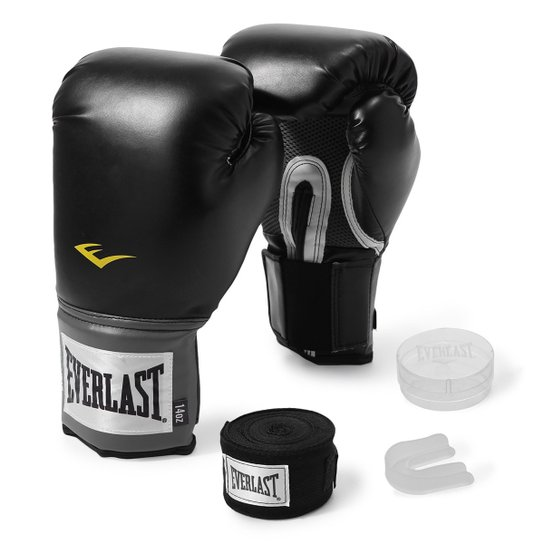 fa07507dd Kit Luva de Boxe Everlast Training 12 Oz + Bandagem - Preto
