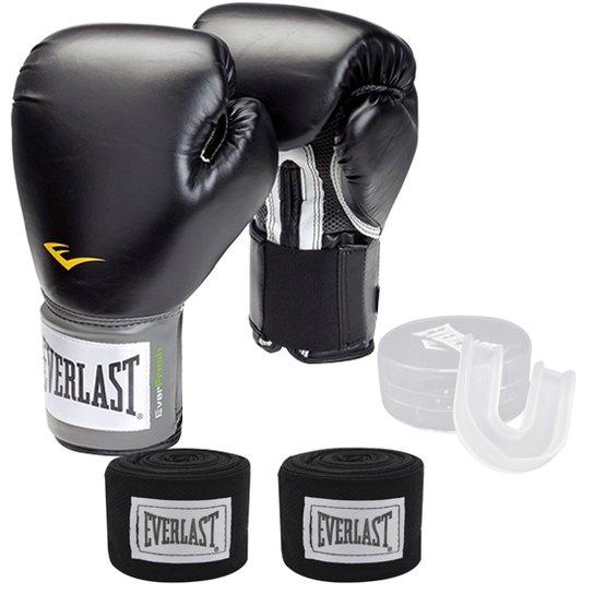 8028334830d36 Kit Boxe / Muay Thai Training Everlast Bandagem + Bucal + Luva 12 OZ - Preto