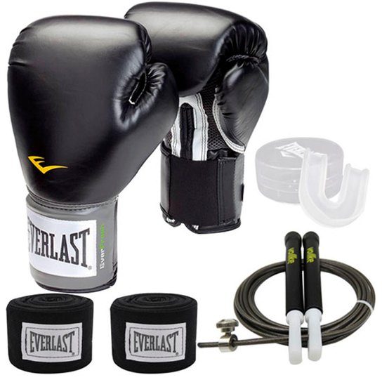 3867b2076 Kit Muay Thai   Boxe Everlast Training Luva 12OZ Preta Bandagem Bucal e  Corda Vollke -