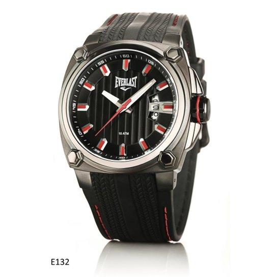 98493b91ab8 Relógio Pulso Everlast Caixa Aço E Pulseira Couro E132 - Preto ...