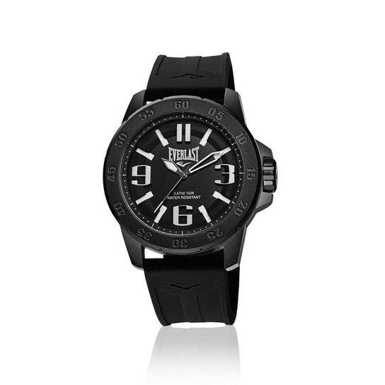 7e581298b22 Relógio Pulso Everlast E696 Caixa Aço E Pulseira Silicone - Preto ...