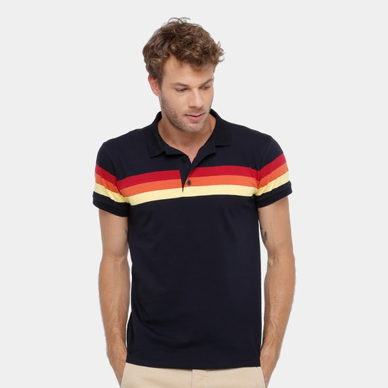 d48ae78f6b Camisa Polo Reserva Listras Pôr do Sol Masculina - Preto