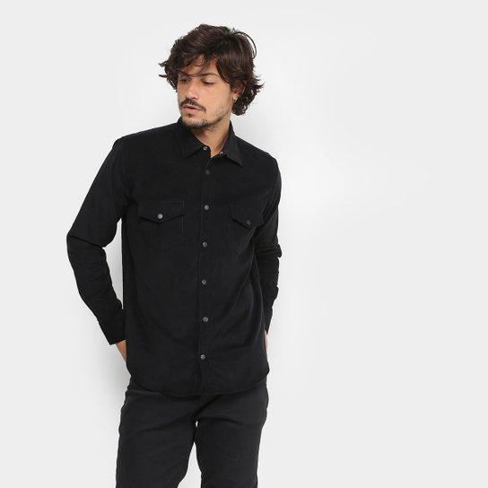 e1f0c0361a Camisa Reserva Regular Veludo Cotelê Masculina - Preto - Compre ...