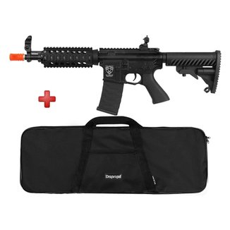 Rifle Airsoft Elétrico APS M4 CQB R Blowback Full Metal + BRINDE Capa Simples