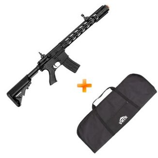 Kit Rifle de Airsoft Elétrico AEG M4A1 CM518 Black CYMA 400 Fps + Capa