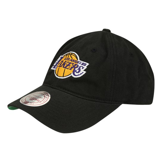 Boné NBA Los Angeles Lakers Mitchell   Ness Aba Curva Washed Algo - Preto 885bc1e2d89