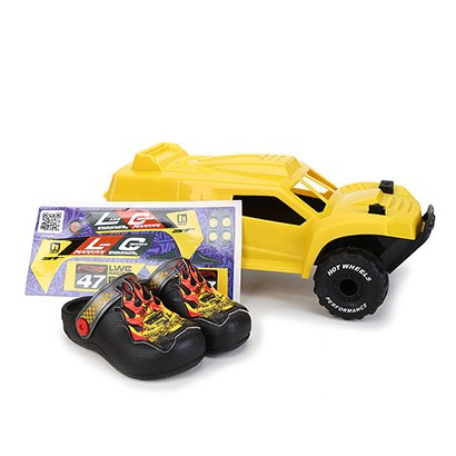 Sandália Infantil Grendene Kids Hot Wheels Monster Truck Babuche Com Carrinho