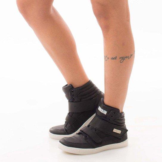 cbf641e4d Bota de Treino Sneakers Fitness Feminina Couro Premium Quickon Force Plus -  Preto