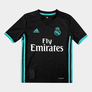 c3e009035b Camisa Real Madrid Infantil Away 17/18 s/nº Torcedor Adidas