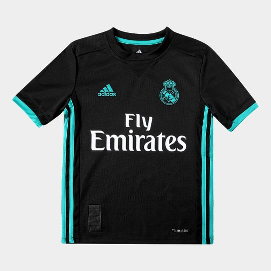Camisa Real Madrid Infantil Away 17 18 s nº Torcedor Adidas - Preto ... 80ec977740d69