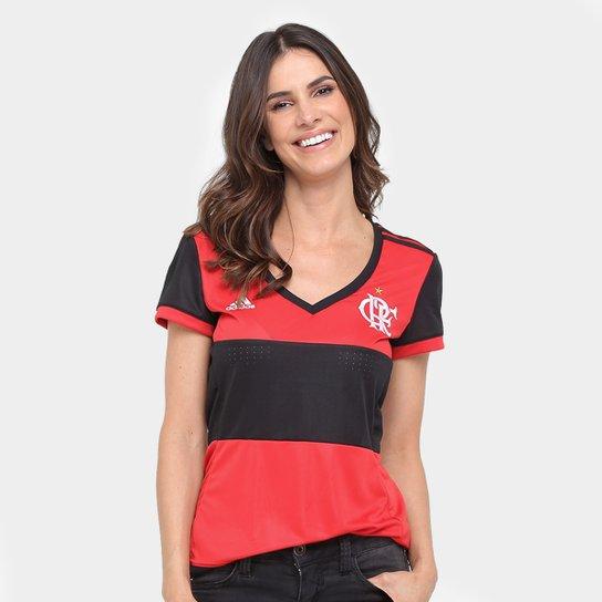 34b8e5c6a3 Camisa Flamengo I 17/18 s/nº Torcedor Adidas Feminina - Preto+Vermelho