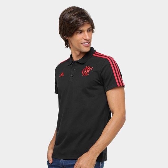Camisa Polo Adidas Flamengo 3S - Preto+Vermelho d2b7b1dc2d351