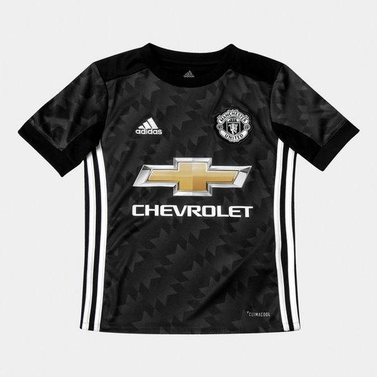 1c940e5aec4ea Camisa Manchester United Infantil Away 17/18 s/nº Torcedor Adidas - Preto