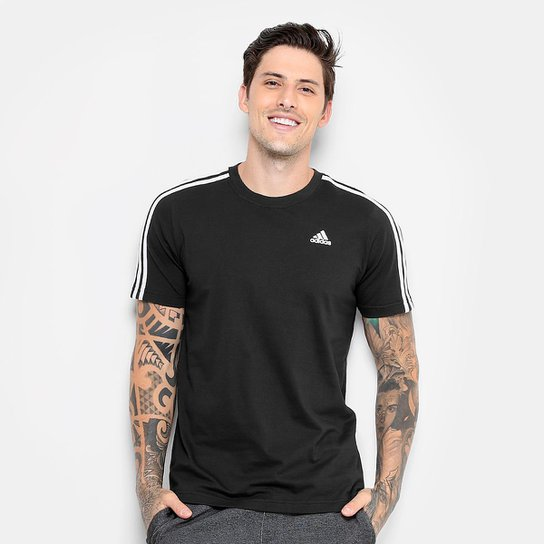 fb9440743aa42 Camiseta Adidas Ess 3S Masculina - Preto - Compre Agora