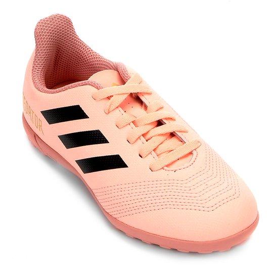 Chuteira Society Infantil Adidas Predator 18 4 TF - Rosa e Preto ... 13887a67ff248