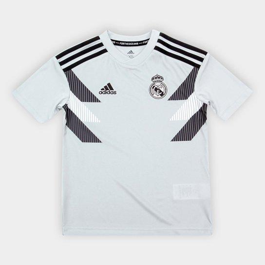d2511500bd80f Camisa Real Madrid Infantil Pré-Jogo – Torcedor Adidas - Preto ...