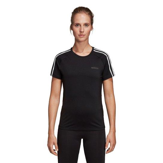 01a1a6dad74 Camiseta Adidas Design 2 Move 3 Stripes Feminina - Preto - Compre ...