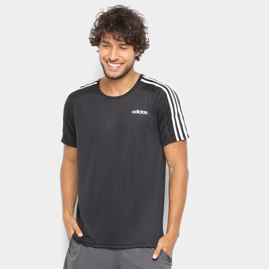 c2f2771e3c8 Camiseta Adidas 2 Move 3 Stripes Masculina - Preto - Compre Agora ...