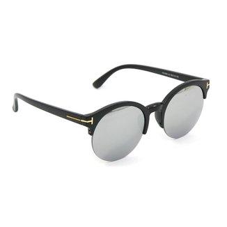 dbe0281968ca6 Óculos Redondo Preto com Lente Espelhada