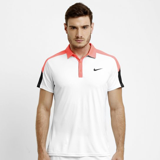 28ec7097f Camisa Polo Nike Team Court - Branco+Rosa