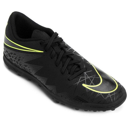 a6981bafdec7a Chuteira Society Nike Hypervenom Phade 2 TF - Preto+Verde Limão