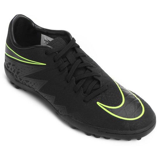 Chuteira Society Nike Hypervenom Phelon 2 TF - Preto+Verde Limão 688f953c7a59d