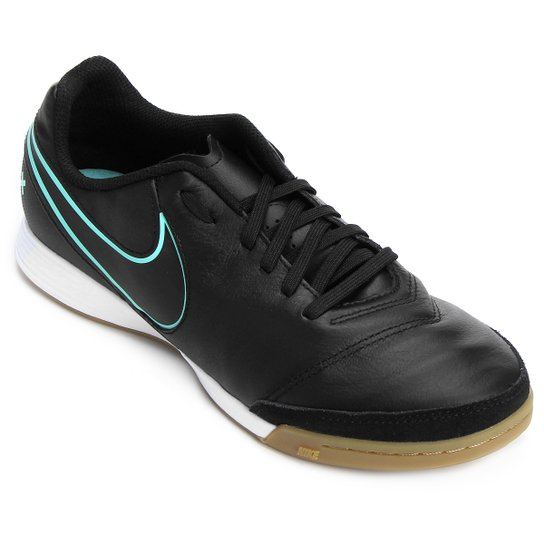buy popular ddea5 468eb Chuteira Futsal Nike Tiempo Genio 2 Leather IC - Preto+Azul Turquesa