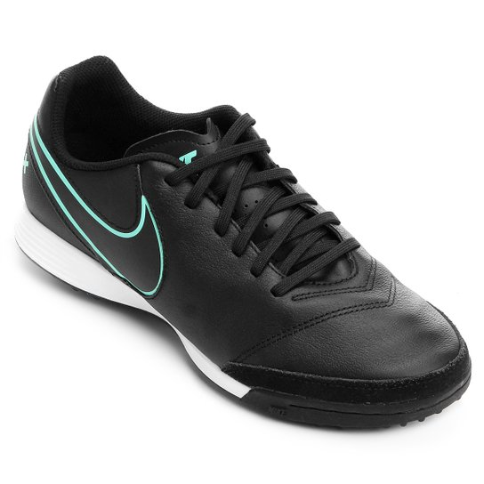 Chuteira Society Nike Tiempo Genio 2 Leather TF - Preto - Compre ... d4cd297585b2d
