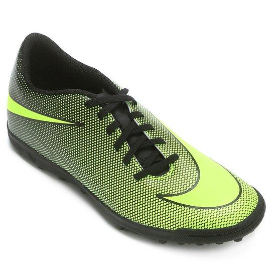 d7921481fa Chuteira Society Nike Bravata 2 TF - Preto e Verde Limão - Compre ...