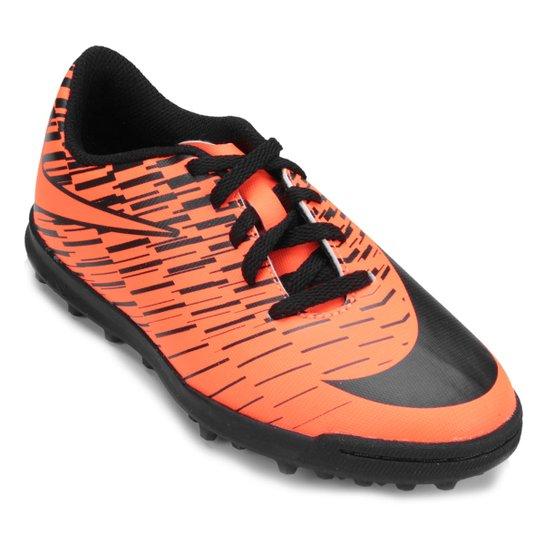 Chuteira Society Infantil Nike Bravata 2 TF - Preto e Laranja Escuro ... 8044cb21e65a0