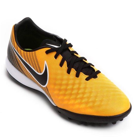 Chuteira Society Nike Magista Onda II TF - Laranja e Preto - Compre ... 96359afded2e9