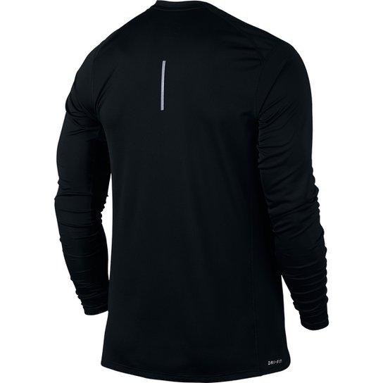 Camiseta Nike Dri-Fit Miler Manga Longa Masculina - Preto - Compre ... 3bb592d101d1c