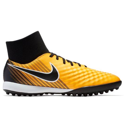 Chuteira Society Nike Magista Onda 2 DF TF - Laranja e Preto ... 303d3be4242d4
