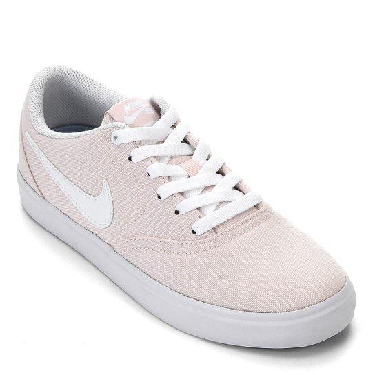 5e6e69bb0 Tênis Nike Wmns Sb Check Solar Cnvs Feminino - Rosa e Branco | Netshoes