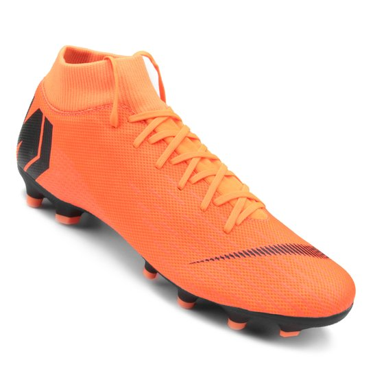 Chuteira Campo Nike Mercurial Superfly 6 Academy - Laranja e Preto ... 37a6a5ba2ef3d