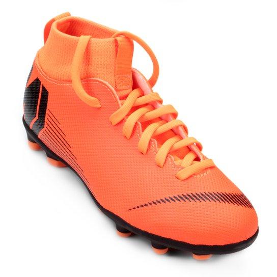 Chuteira Campo Infantil Nike Mercurial Superfly 6 Club - Laranja+Preto d09c67c1e0dde
