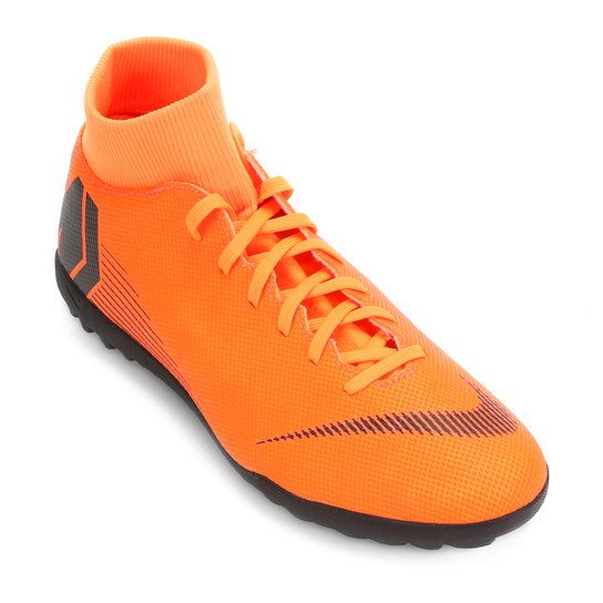 b411e38a3fb75 Chuteira Society Nike Mercurial Superfly 6 Club - Laranja e Preto ...