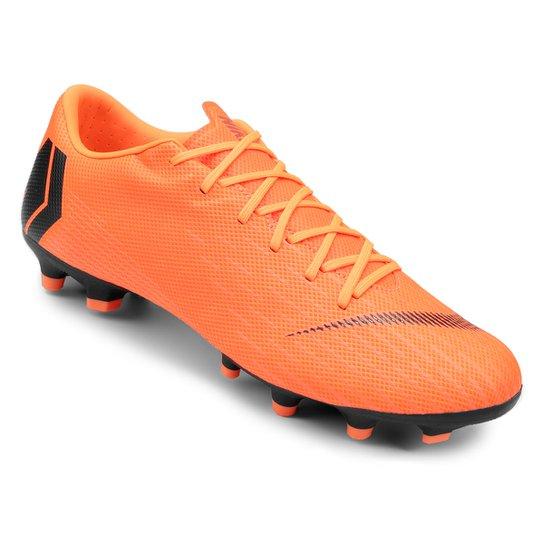 Chuteira Campo Nike Mercurial Vapor 12 Academy - Laranja e Preto ... 17a20dedeb029