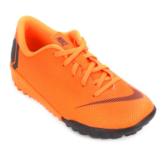 Chuteira Society Infantil Nike Mercurial Vapor 12 Academy - Laranja+Preto 9a9f043a63407